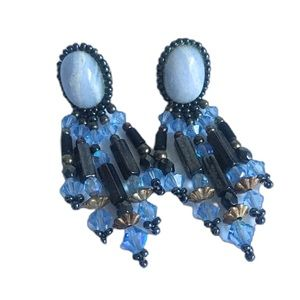 Vintage 90's Southwest Earrings Hand Beaded Blue